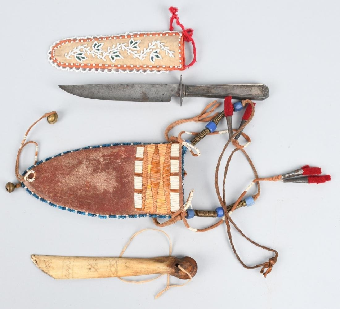 SILVER HANDLED KNIFE BEADED SHEATHS & MORE