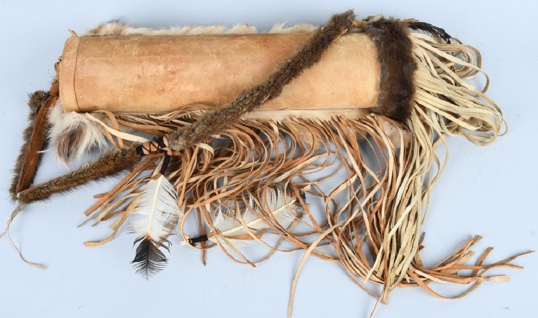 LEATHER & FUR DECORATED QUIVER and ARROWS - 5