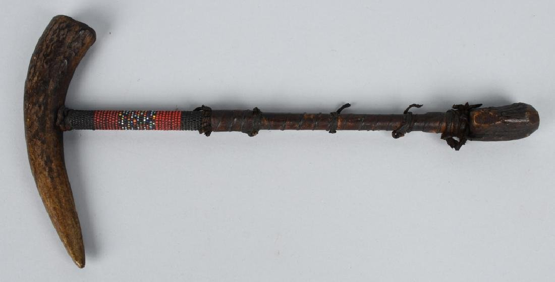 VINTAGE NAVAJO BEADED STAG HORN PIPE