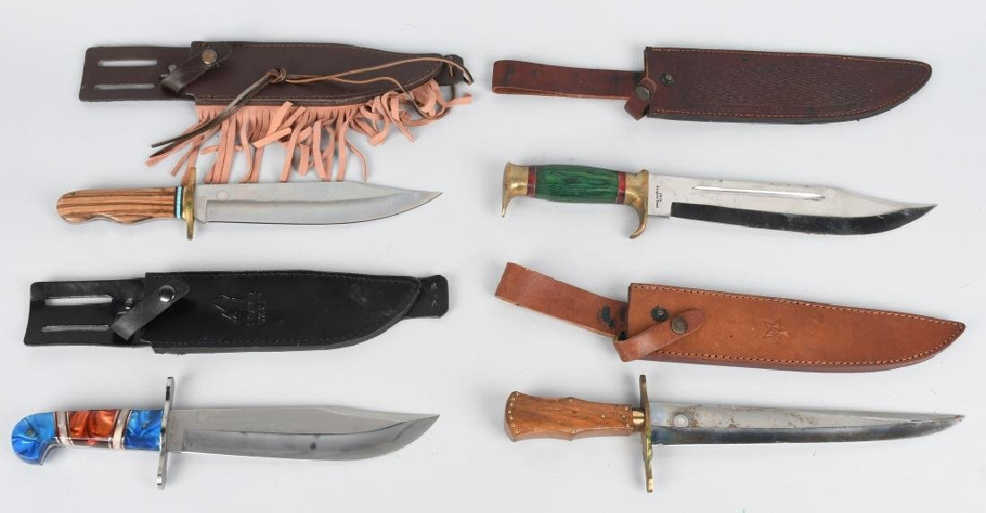 4-LARGE FIXED BLADE KNIVES with LEATHER SHEATHS