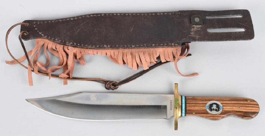 4-LARGE FIXED BLADE KNIVES with LEATHER SHEATHS - 2