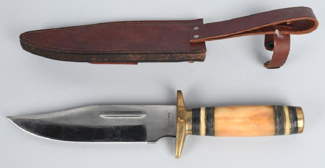 4-LARGE FIXED BLADE KNIVES with LEATHER SHEATHS - 3