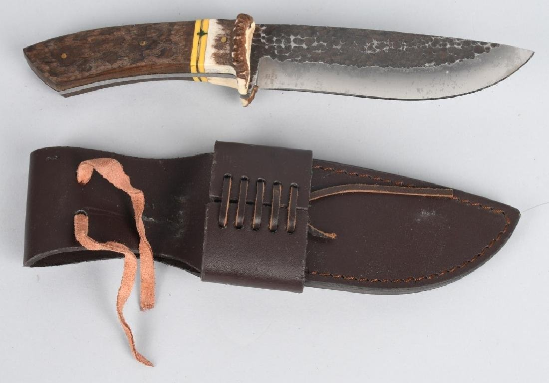 4-LARGE FIXED BLADE KNIVES with LEATHER SHEATHS - 6