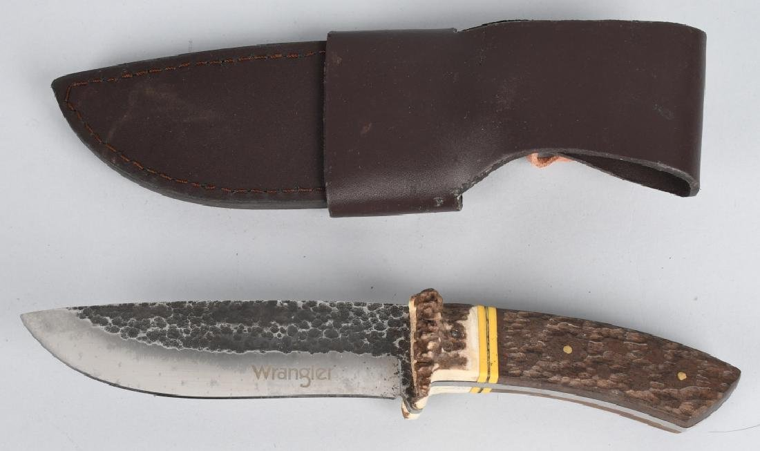 4-LARGE FIXED BLADE KNIVES with LEATHER SHEATHS - 7