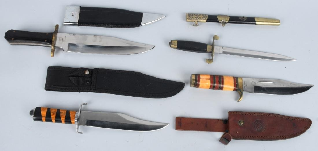 4-LARGE FIXED BLADE KNIVES with SHEATHS