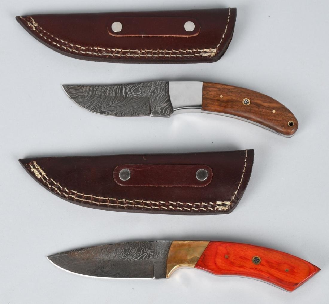 2-CUSTOM DAMASCUS FIXED BLADE KNIVES