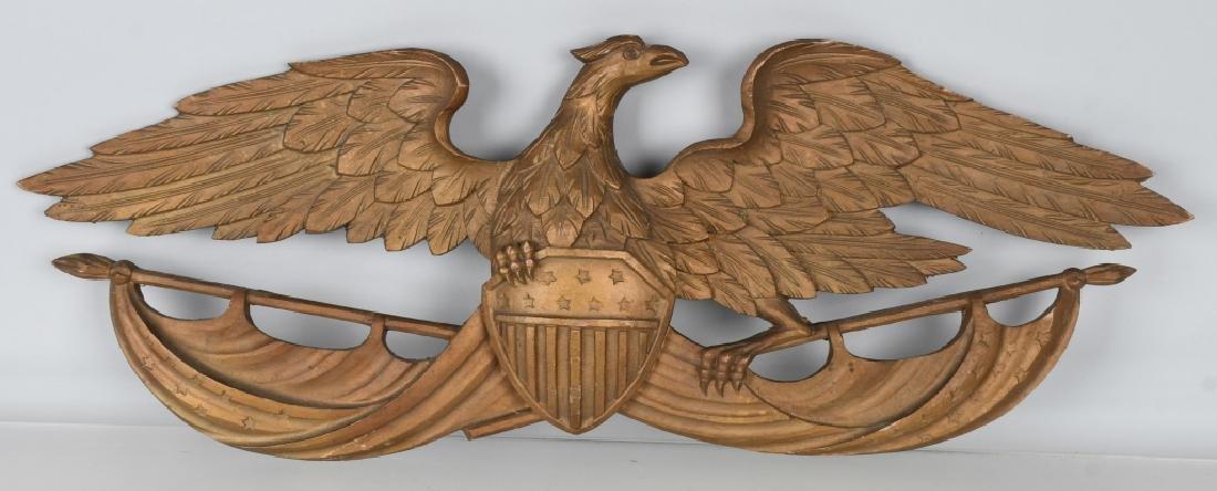 VINTAGE CARVED EAGLE with SHIELD & FLAG