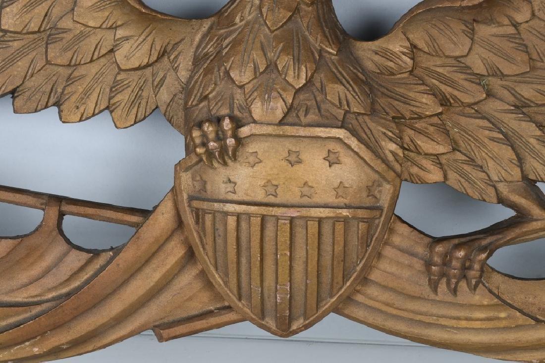 VINTAGE CARVED EAGLE with SHIELD & FLAG - 3
