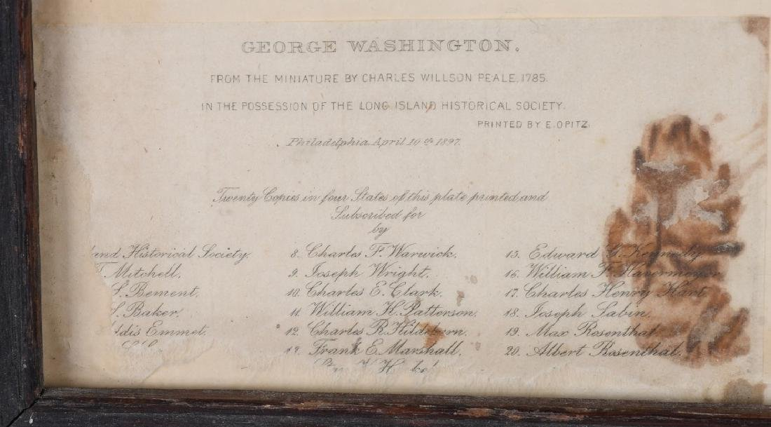 1897 GEORGE WASHINGTON ETCHING, ALBERT ROSENTHAL - 4