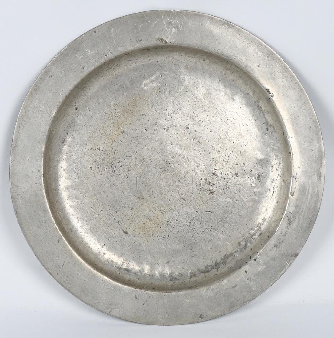 ANTIQUE LARGE PEWTER CHARGER PLATE, HALLMARKED