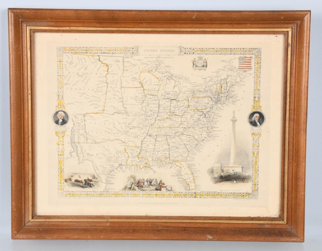 CIRCA 1850 UNITED STATES MAP, FRAMED