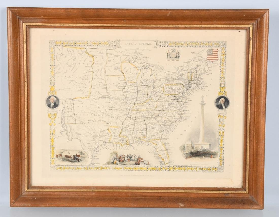 CIRCA 1850 UNITED STATES MAP, FRAMED