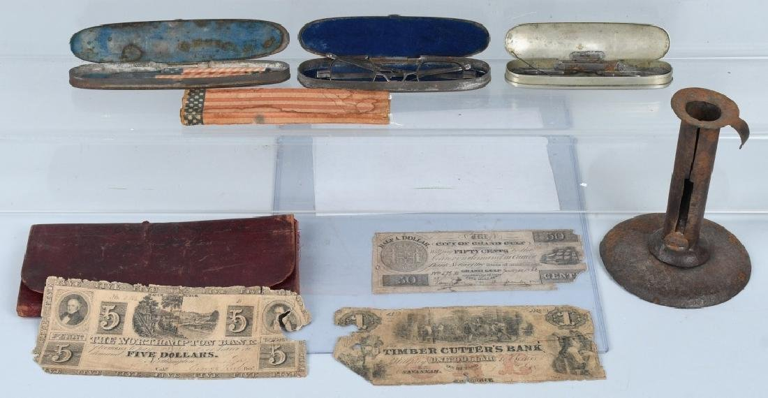 19th CENT. WALLET, GLASSES, MONEY & MORE