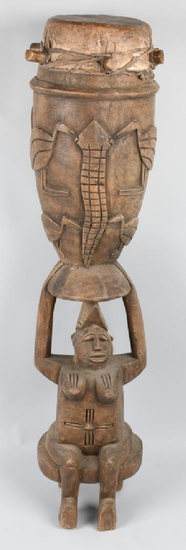 VINTAGE AFRICAN TRIBAL CEREMONIAL SENUFO DRUM