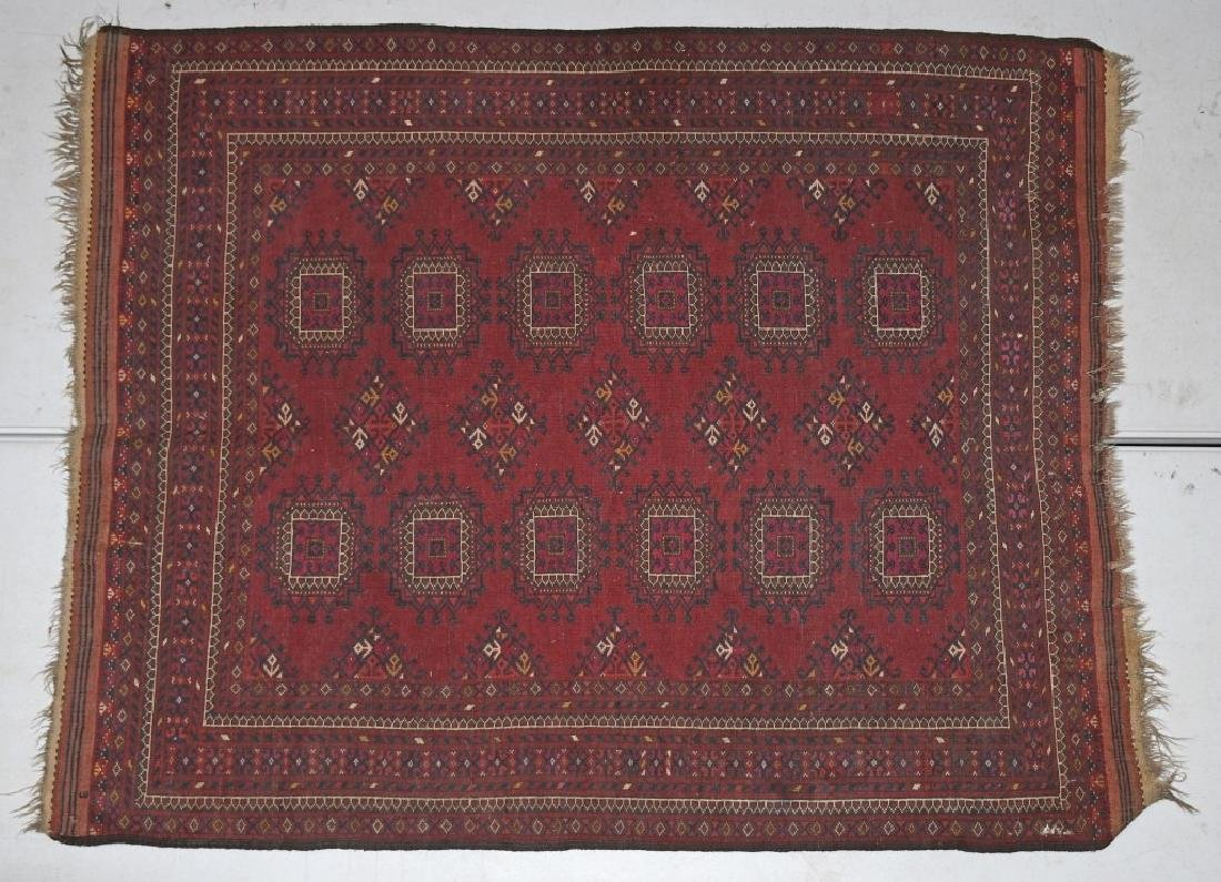 "60""x48"" ANTIQUE AFGHAN ORIENTAL RUG - 4"