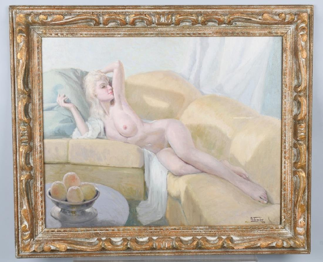 MANUEL TEGEIRO RECLING NUDE OIL PAINTING