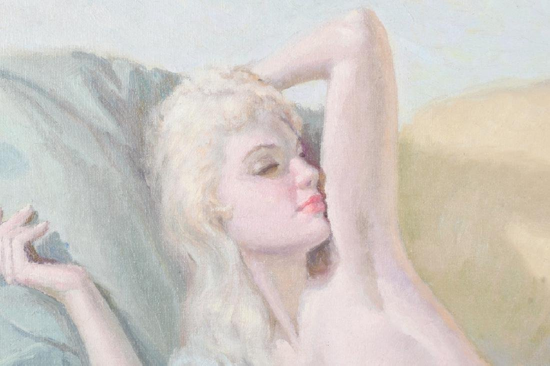 MANUEL TEGEIRO RECLING NUDE OIL PAINTING - 2