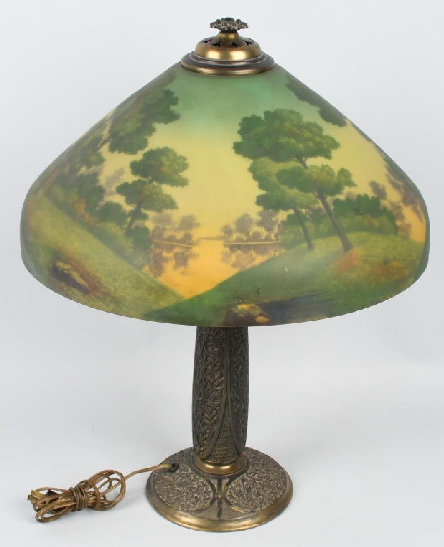 REVERSE PAINTED TABLE LAMP w/ ORNATE BASE