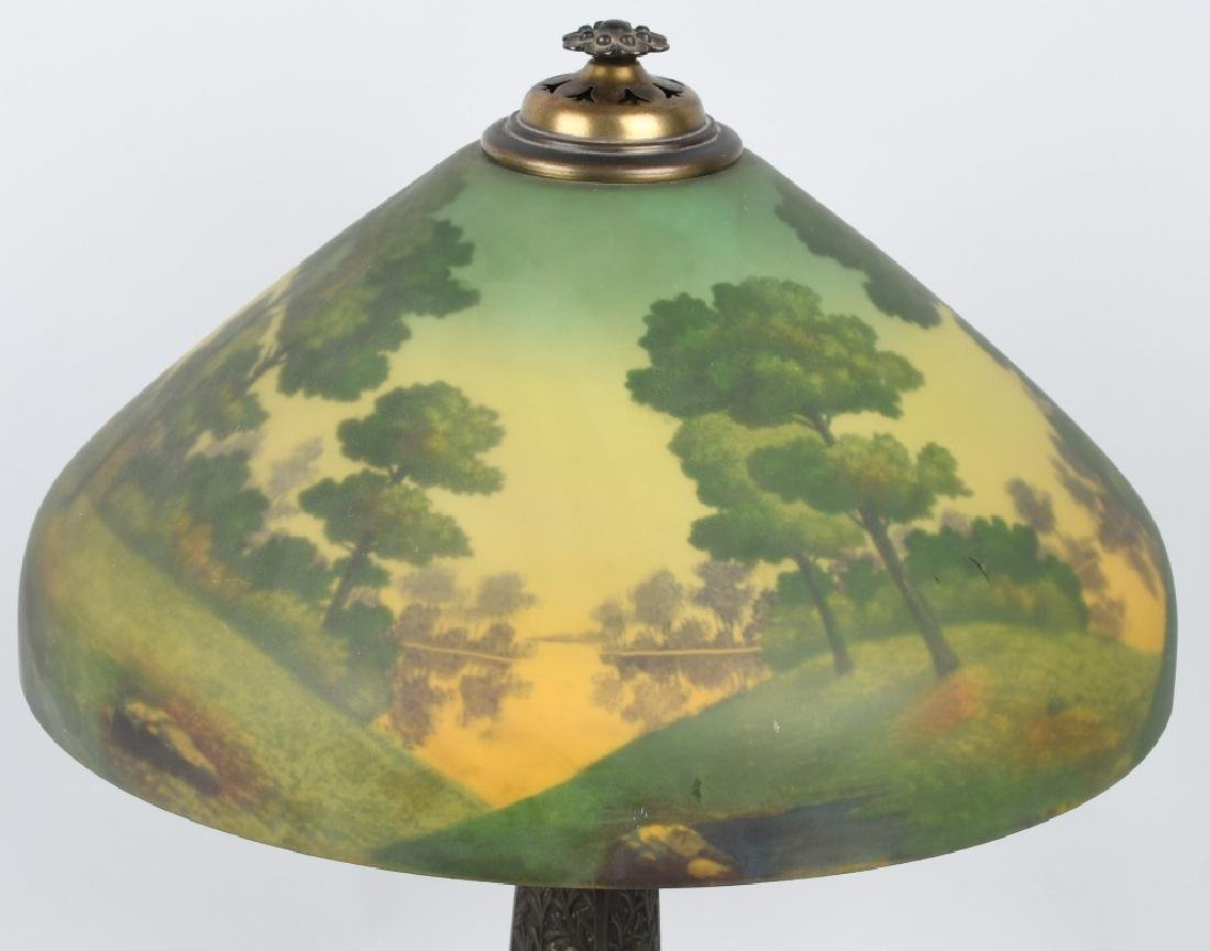 REVERSE PAINTED TABLE LAMP w/ ORNATE BASE - 2