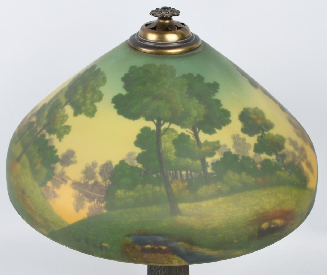 REVERSE PAINTED TABLE LAMP w/ ORNATE BASE - 3