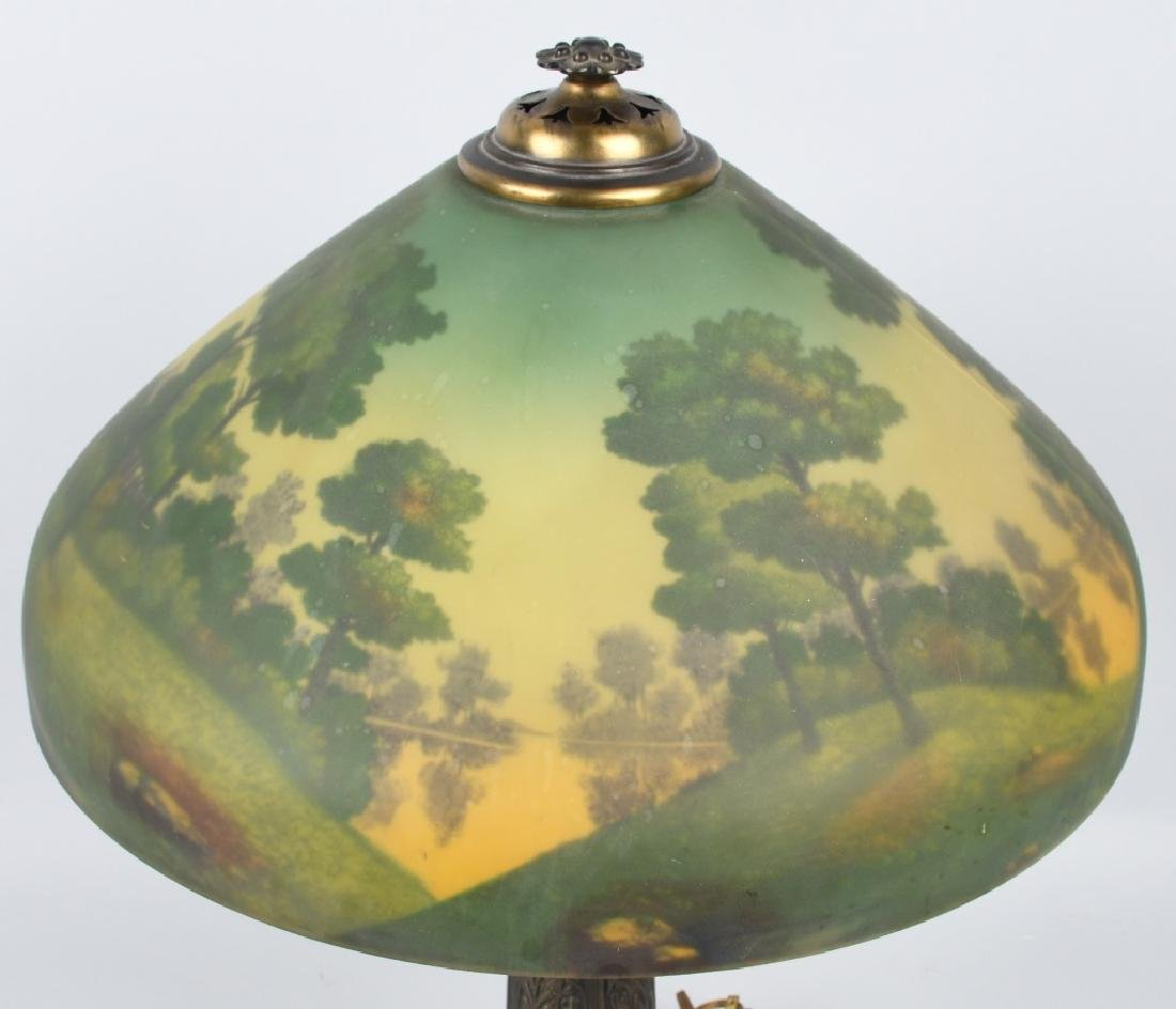 REVERSE PAINTED TABLE LAMP w/ ORNATE BASE - 4