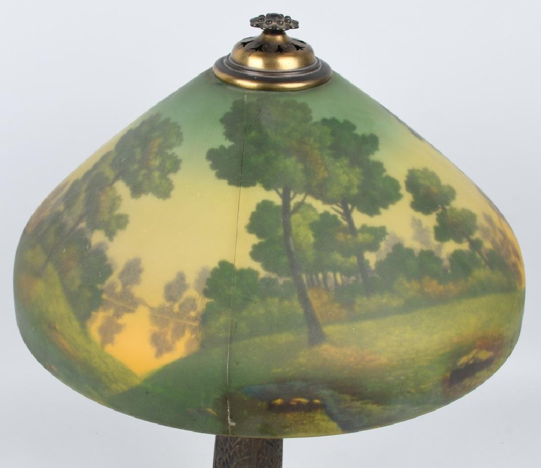 REVERSE PAINTED TABLE LAMP w/ ORNATE BASE - 5