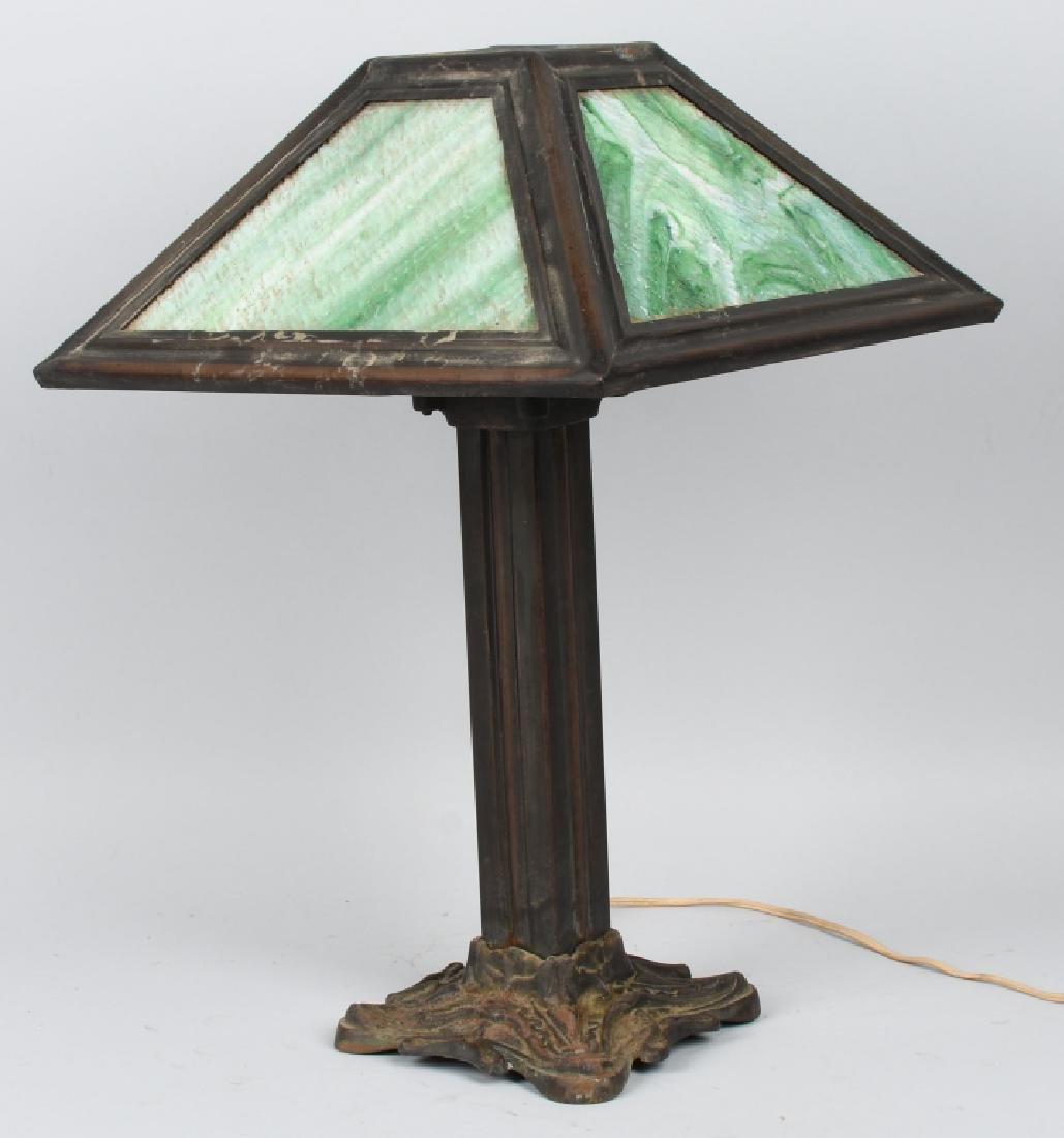 ARTS & CRAFTS STYLE SLAG GLASS TABLE LAMP - 5