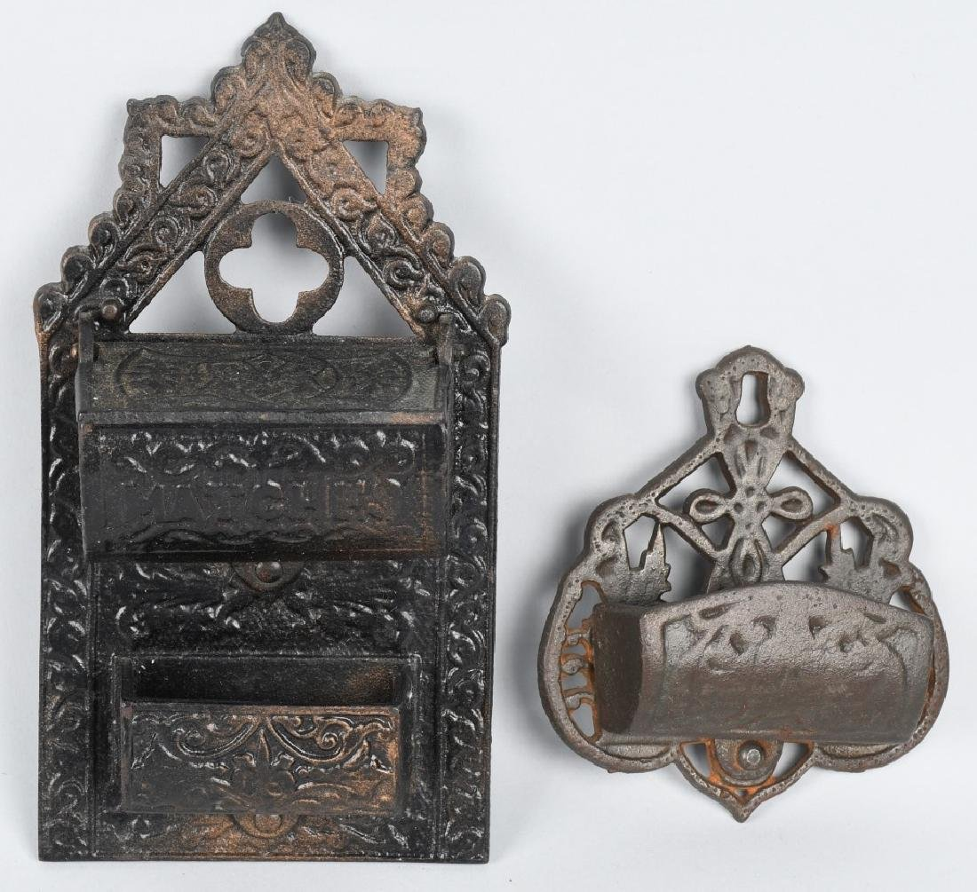 2- CAST IRON WALL MOUNT MATCH SAFES