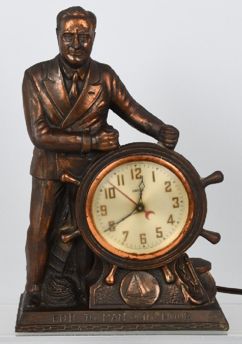 F.D.R. THE MAN of the HOUR MAN MANTEL CLOCK