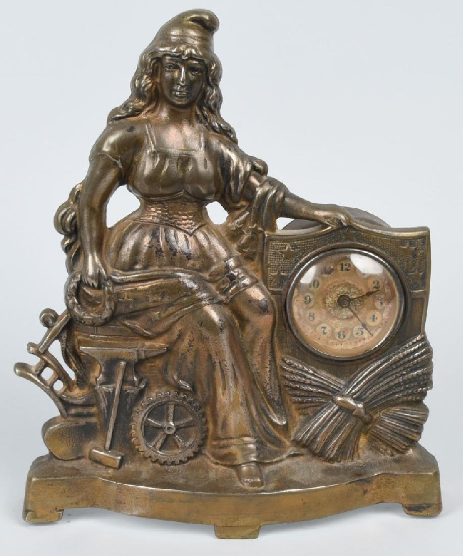 1900 COLUMBIA PATRIOTIC CAST IRON FIGURAL CLOCK