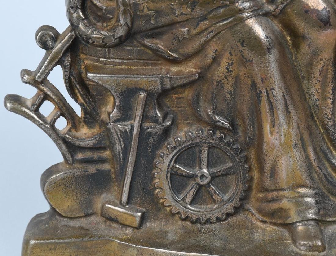 1900 COLUMBIA PATRIOTIC CAST IRON FIGURAL CLOCK - 3