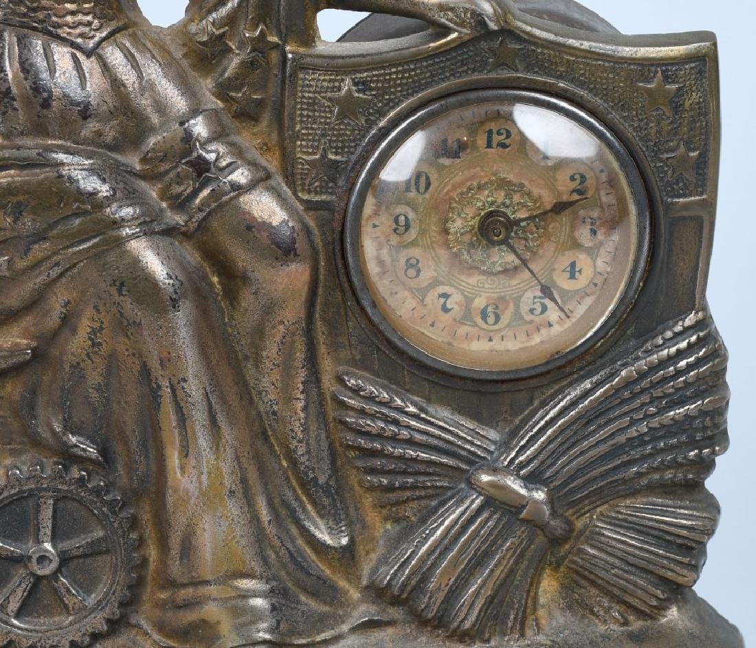 1900 COLUMBIA PATRIOTIC CAST IRON FIGURAL CLOCK - 4