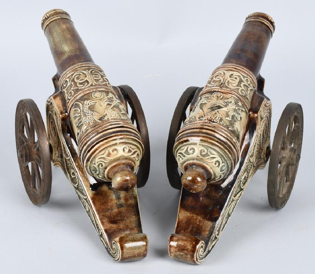 PAIR MAJOLICA STYLE CERAMIC CANNONS, BRASS WHEELS - 10