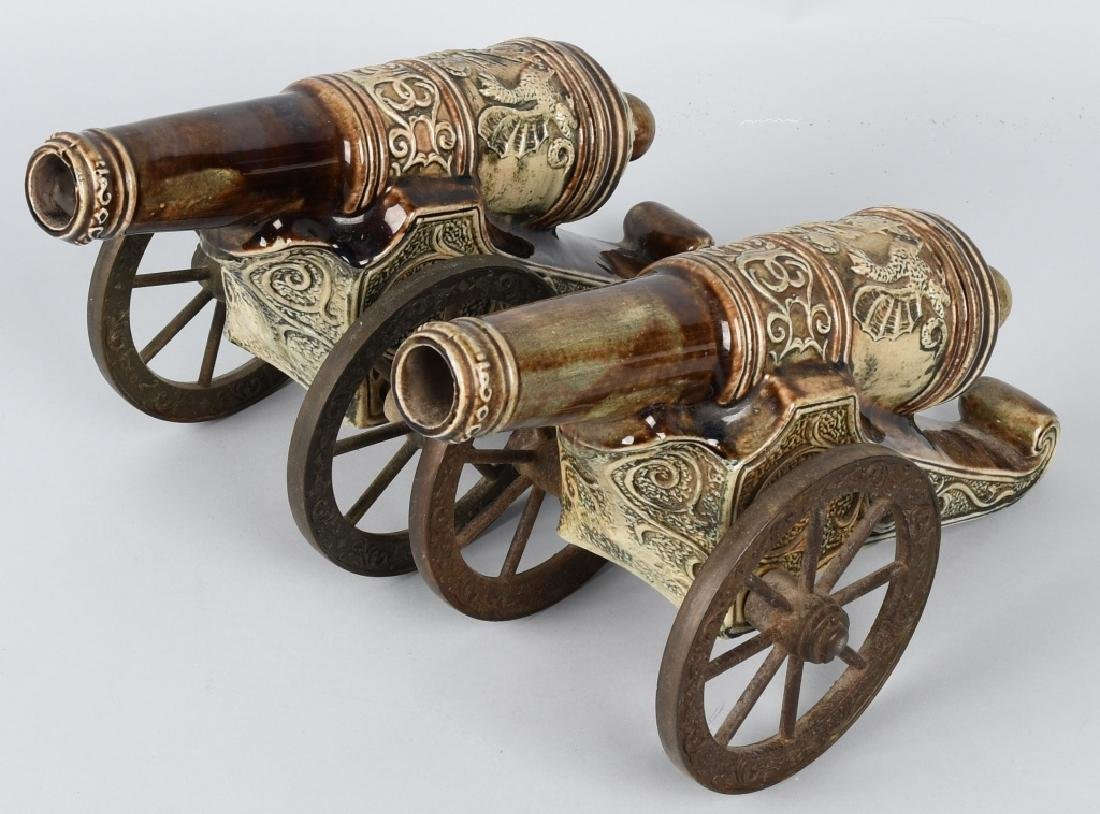 PAIR MAJOLICA STYLE CERAMIC CANNONS, BRASS WHEELS - 2