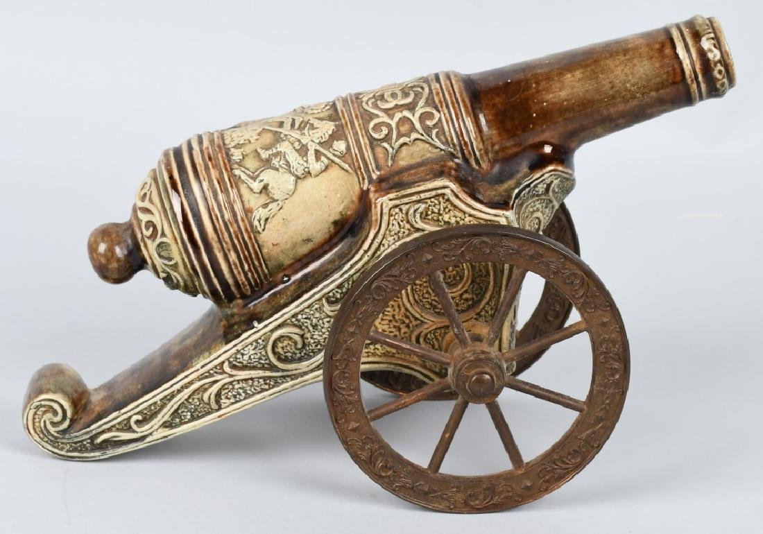 PAIR MAJOLICA STYLE CERAMIC CANNONS, BRASS WHEELS - 7