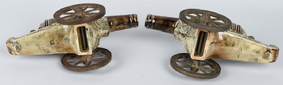 PAIR MAJOLICA STYLE CERAMIC CANNONS, BRASS WHEELS - 8