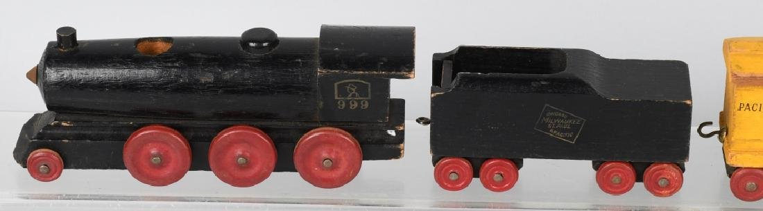6- VINTAGE WOOD CARVED FIGURES & WOOD TRAIN - 10