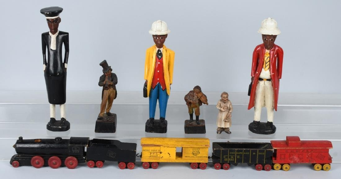 6- VINTAGE WOOD CARVED FIGURES & WOOD TRAIN