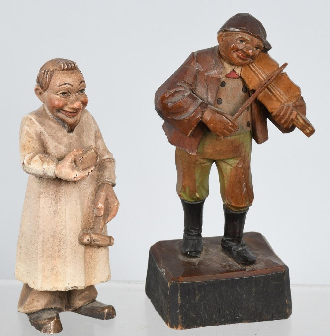 6- VINTAGE WOOD CARVED FIGURES & WOOD TRAIN - 4