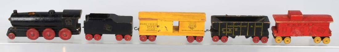 6- VINTAGE WOOD CARVED FIGURES & WOOD TRAIN - 9