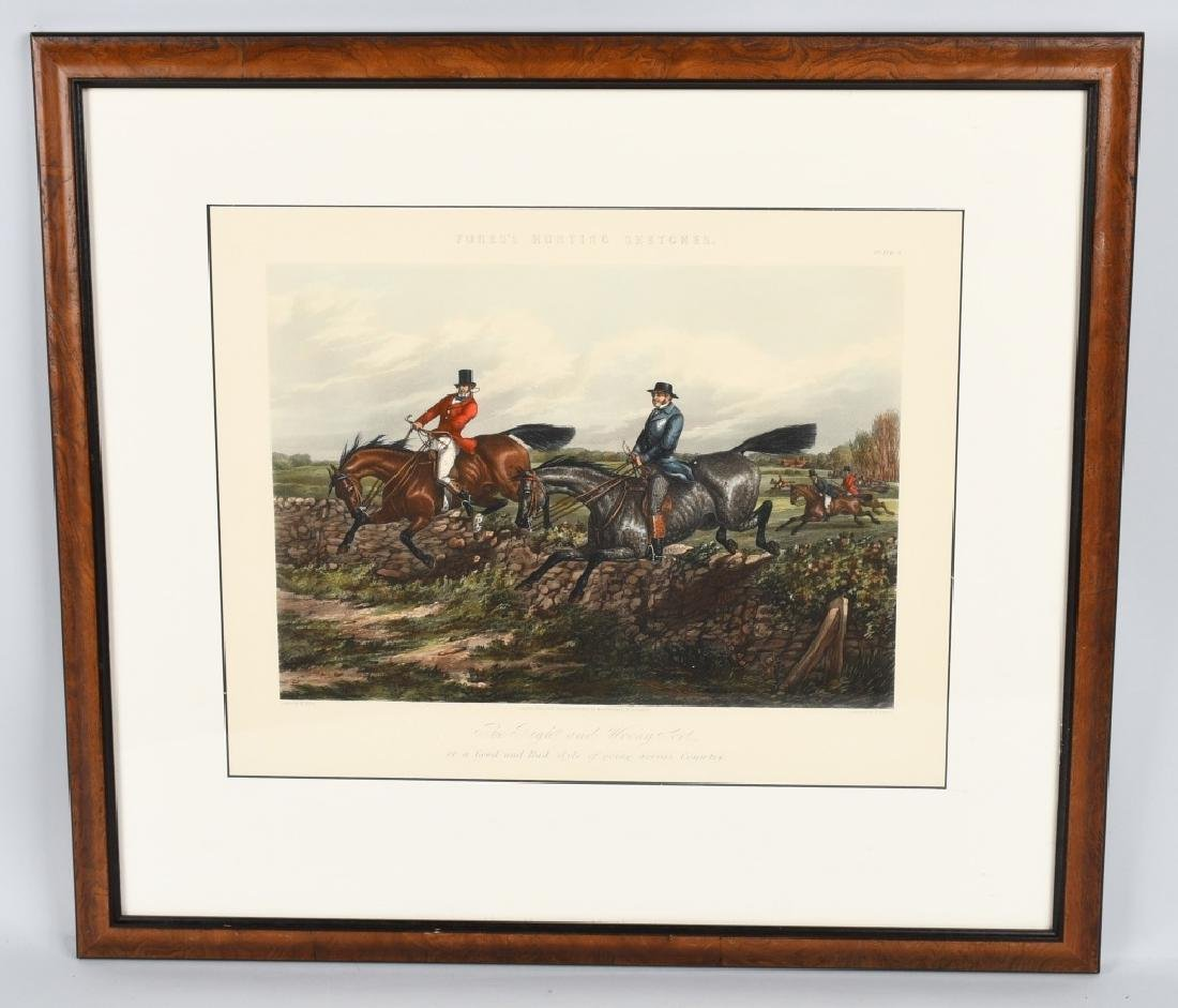 1859 FORES HUNTING SKETCHES PRINT, FRAMED