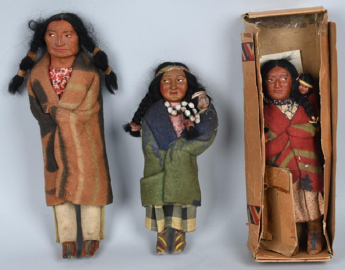 3-SKOOKUM UNDIAN DOLLS, ONE BOXED