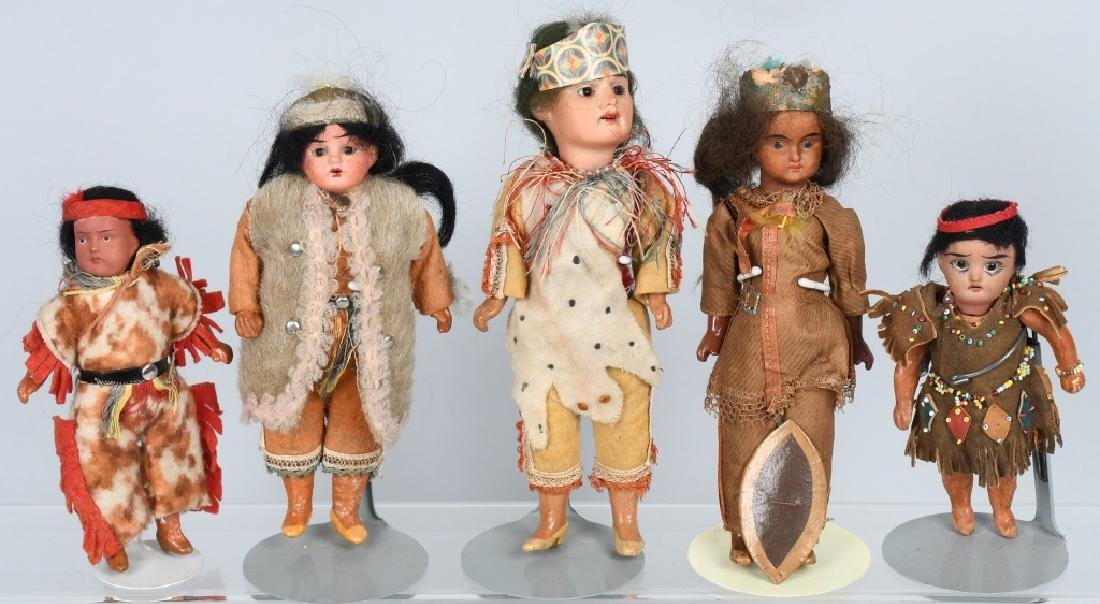 5-GERMAN BISQUE INDIAN DOLLS