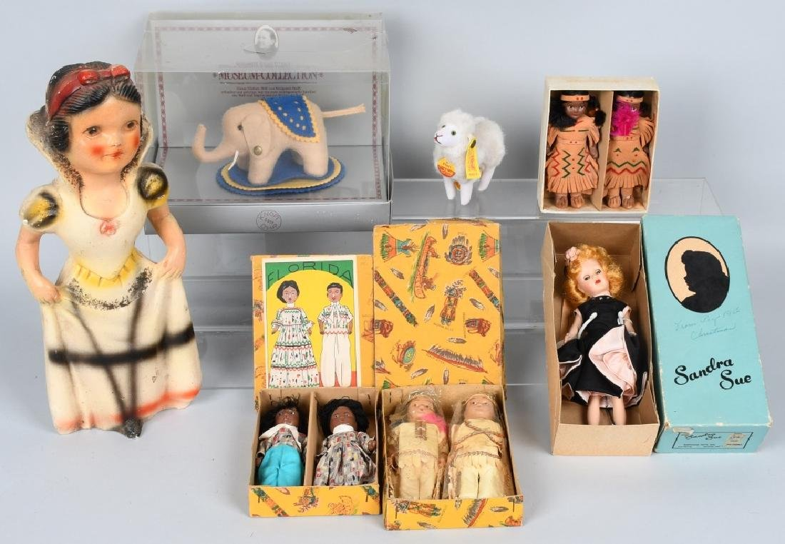 VINTAGE DOLL and STEIFF LOT