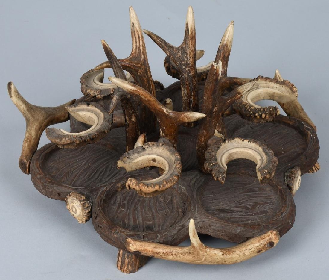 BLACK FOREST CARVED WOOD & ANTLER CRUET TRAY