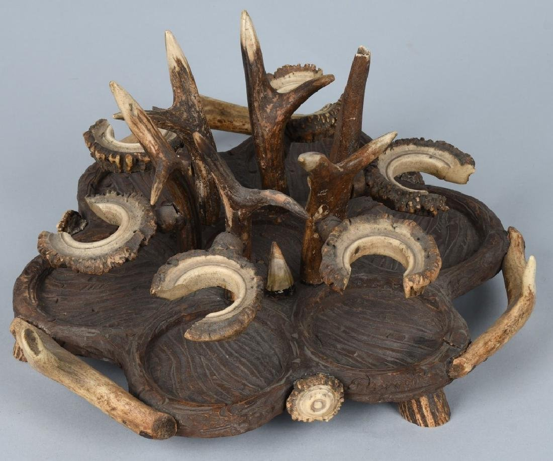 BLACK FOREST CARVED WOOD & ANTLER CRUET TRAY - 2