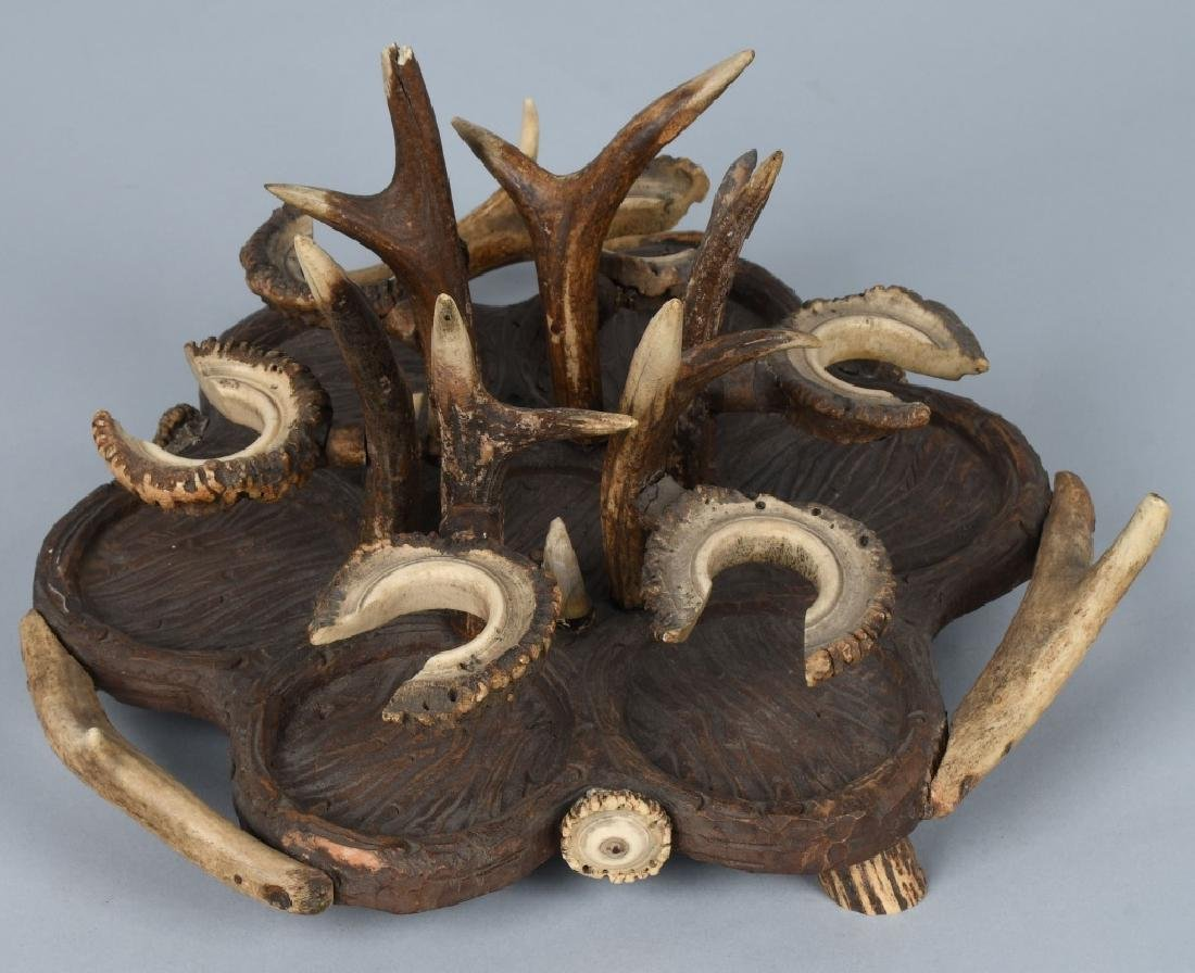 BLACK FOREST CARVED WOOD & ANTLER CRUET TRAY - 3
