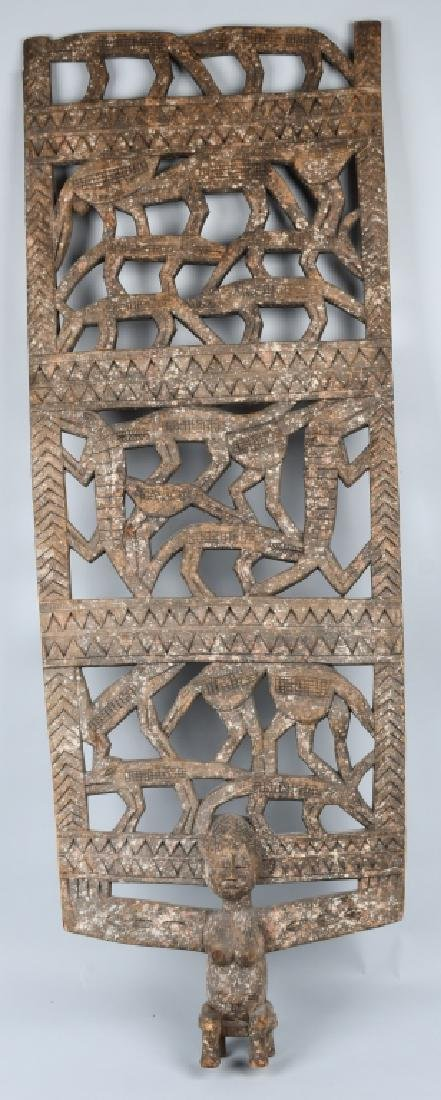 AFRICAN ELABORATE CARVED PANEL, CROCODILES