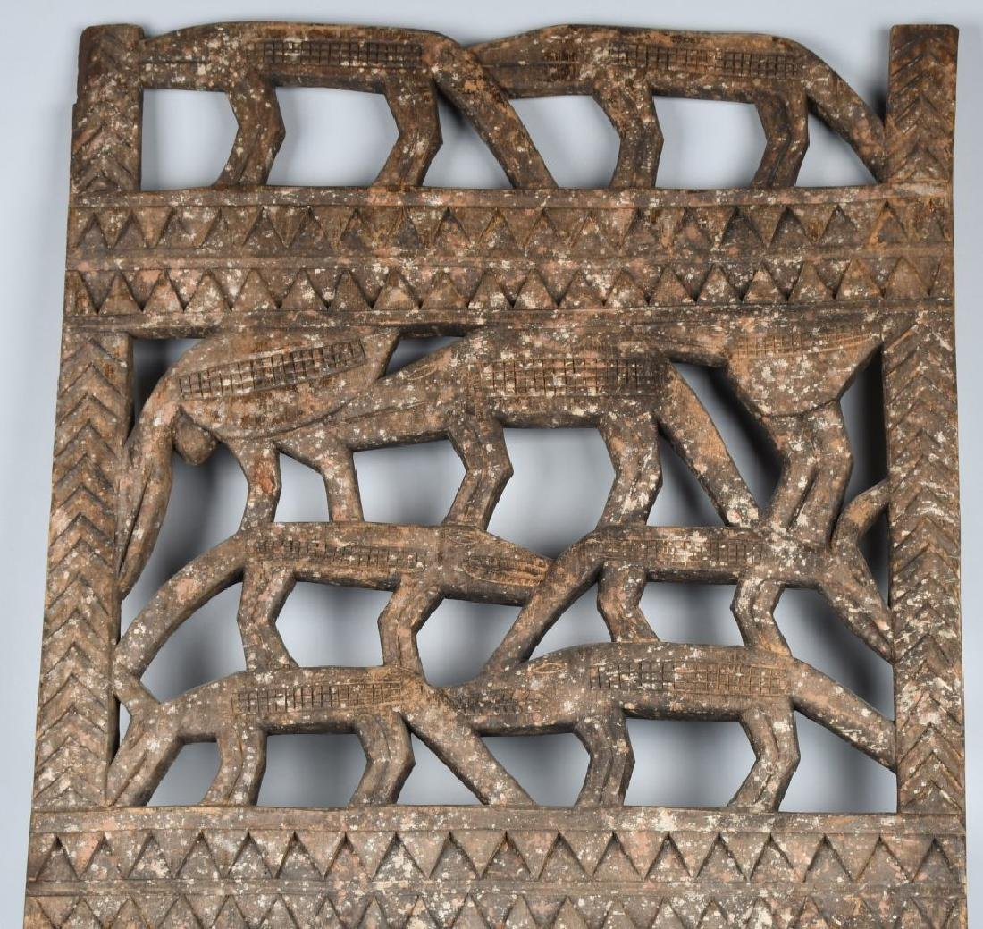 AFRICAN ELABORATE CARVED PANEL, CROCODILES - 2
