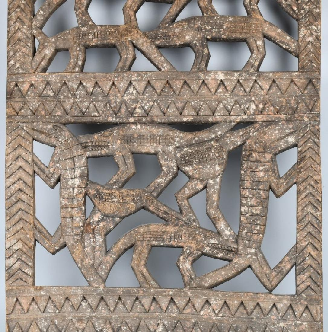 AFRICAN ELABORATE CARVED PANEL, CROCODILES - 3